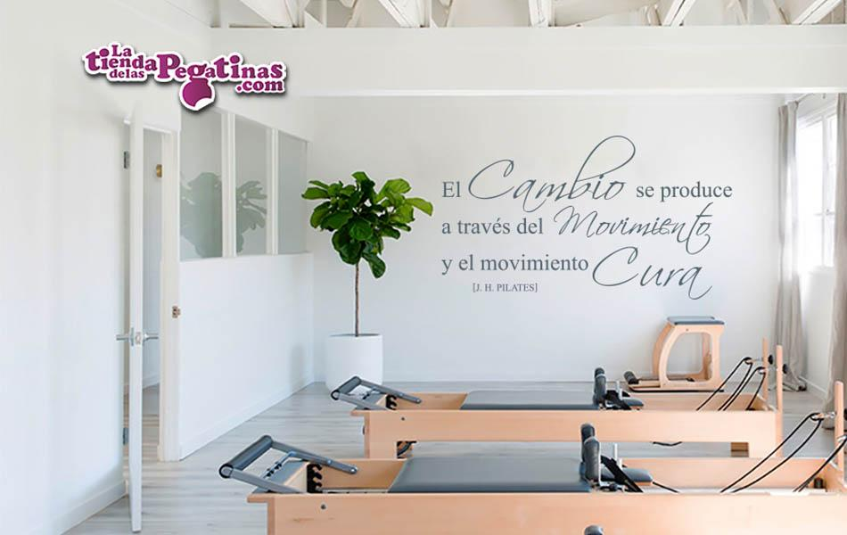 Vinilo decorativo el movimiento en pilates la tienda for Pegatinas frases pared