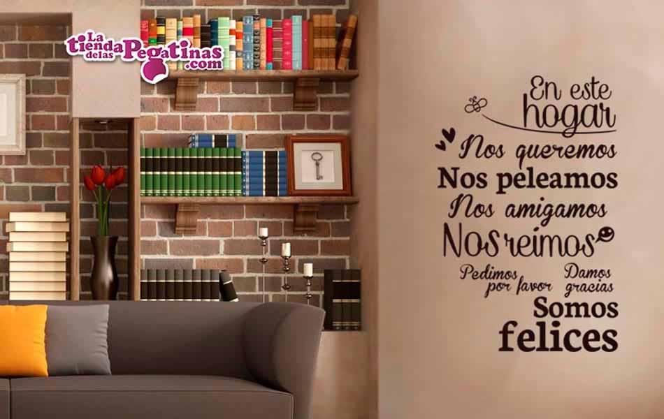 Vinilo en este hogar somos felices la tienda de las pegatinas - Vinilos decorativos para pared ...