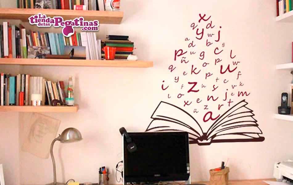 Vinilo libro abierto de letras la tienda de las pegatinas - Vinilos pared musica ...