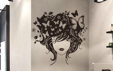 Vinilo decorativo Peinado floral