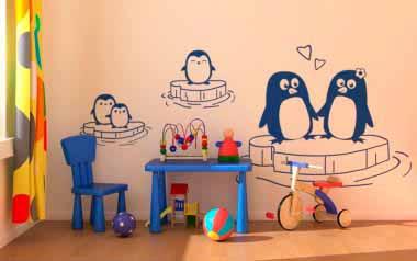 Vinilo decorativo - Familia de pingüinos