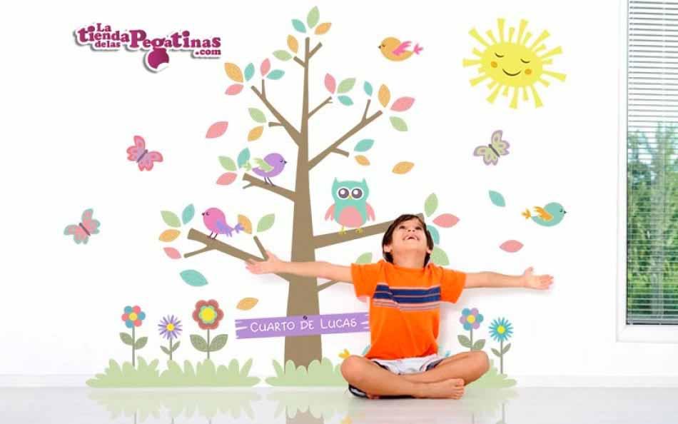 Vinilo infantil - Árbol con pájaros