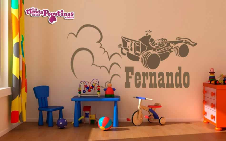 Vinilo infantil formula uno personalizado for Vinilos pared personalizados