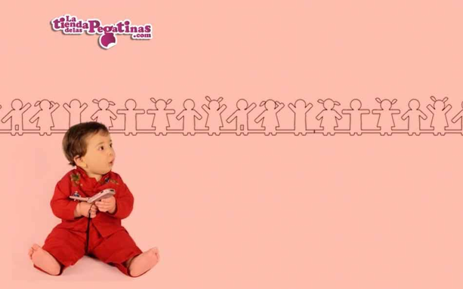 Vinilo infantil - Cenefa Cadena Humana Contorno