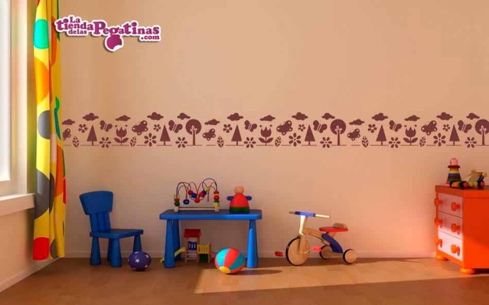 Vinilo infantil cenefa naturaleza for Adhesivos de pared infantiles