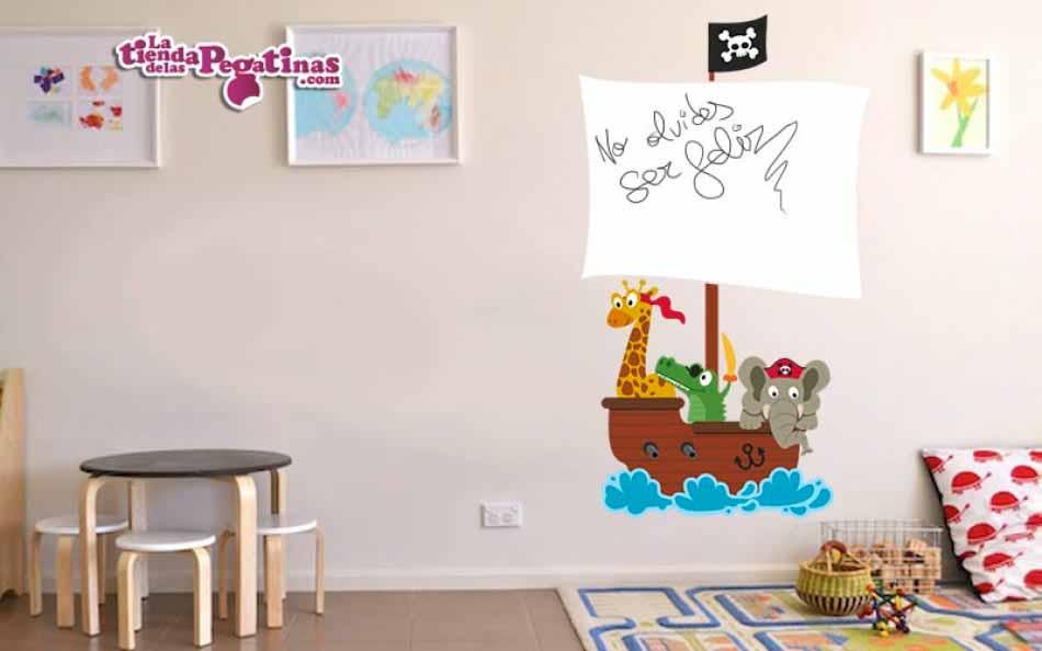 Vinilo infantil - Pizarra animales piratas