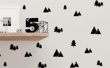 Kit de 100 pegatinas de árboles y montañas