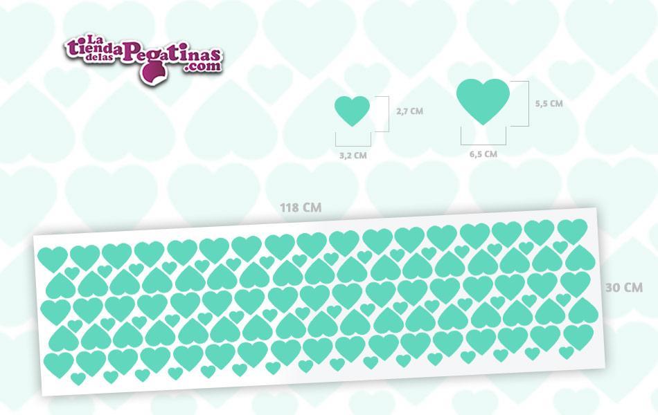 Kit de 133 pegatinas de corazones en 2 tamaños