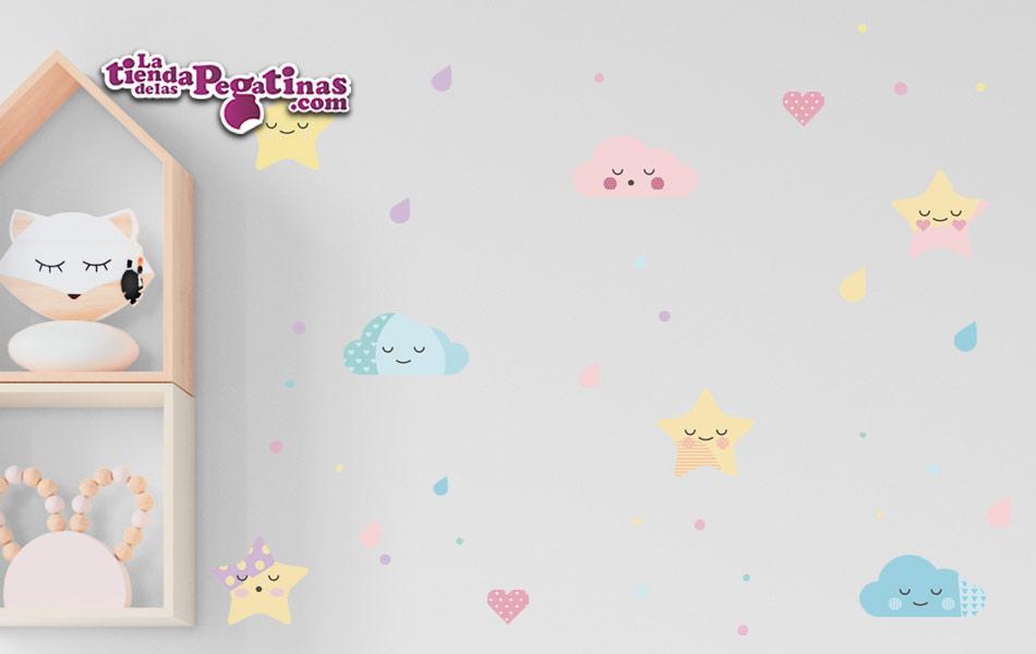 Kit de vinilo con estrellas, nubes, lunares, gotas y corazones