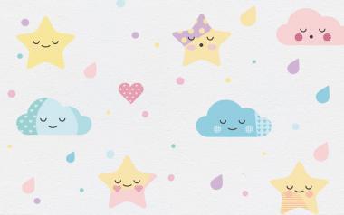 pegatinas de estrellas, nubes, lunares, gotas y corazones