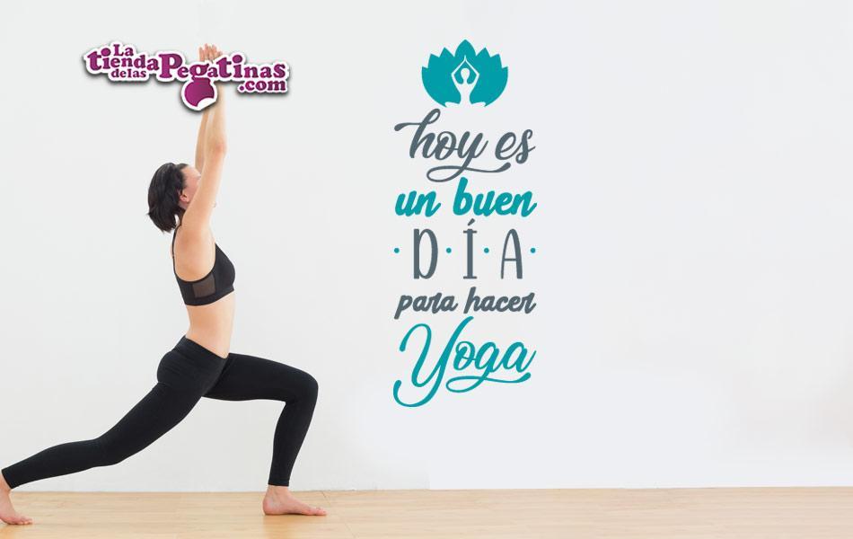 Vinilo Decorativo Hoy Es Un Buen Día Yoga